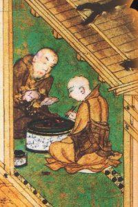 親鸞(左)と善鸞。『慕帰絵』より。西本願寺蔵